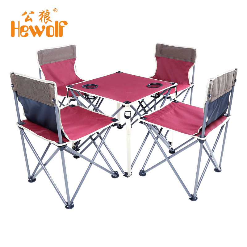 portable folding beach table and chair five sets burgundy integrated design high stability for outdoor camping