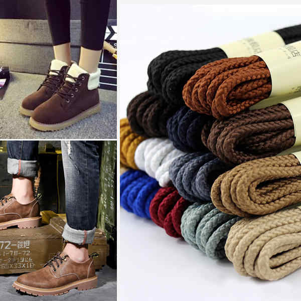 80 160cm Round Waxed Coloured Shoelaces Elastic Leather Shoes Strings Boot Sport Shoe Laces Cord Casual Athletic Shoe String
