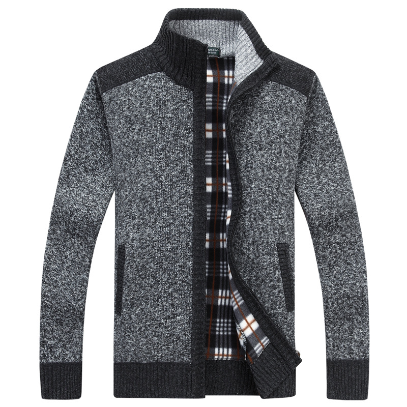 New Men's Cardigan Fleece Male Sweate Oversize Warm Cashmere EUR Size Zipper Casual Sweater Men Knitted Coat AF1638