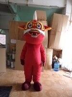 Rojo adulto león león traje de la mascota del traje del personaje de pelo para la venta