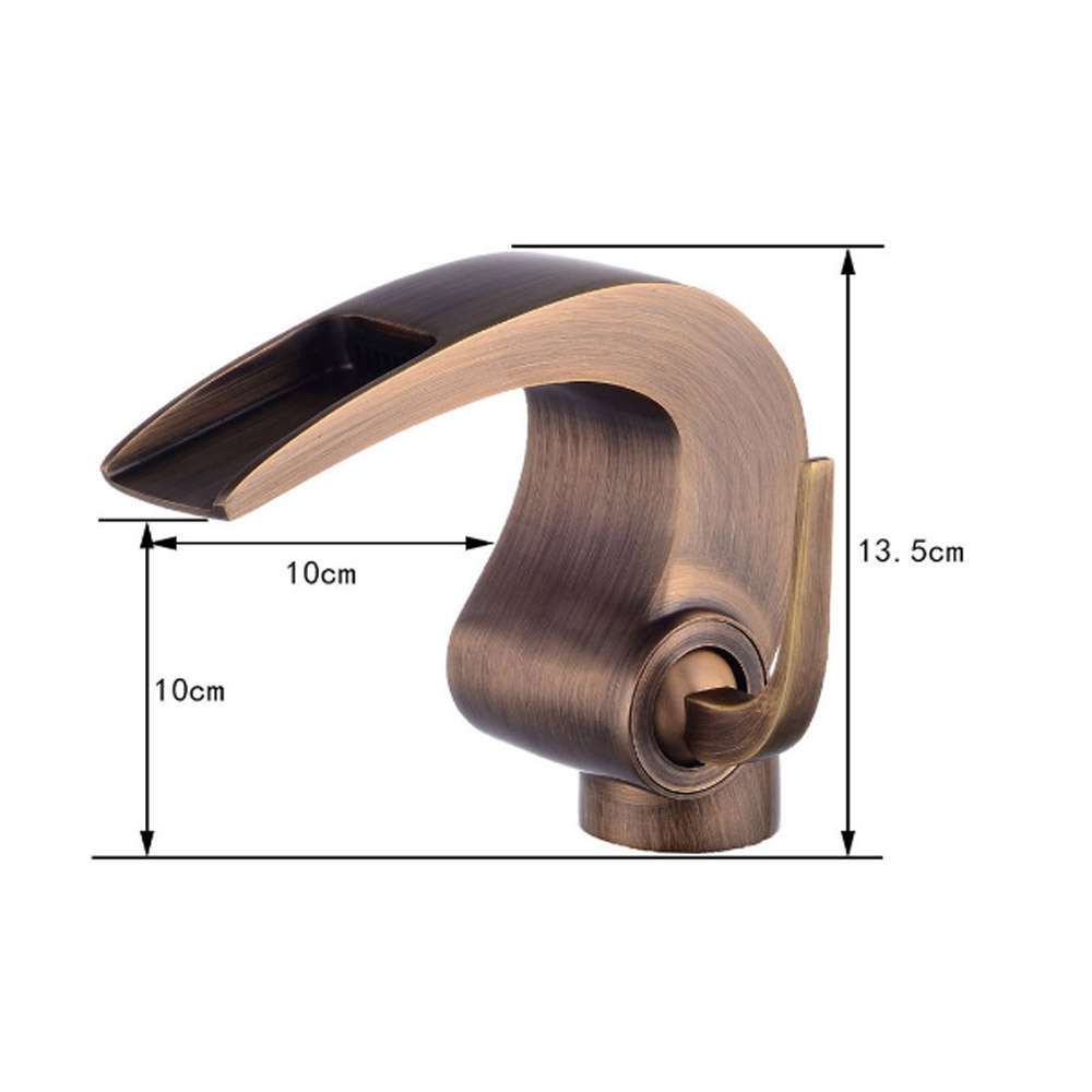 BAOLINLONG Deck Mount Brass Basin Bathroom Waterfall Faucets Tap Vanity Vessel Sinks Mixer Bath Faucet Water Crane in Basin Faucets from Home Improvement