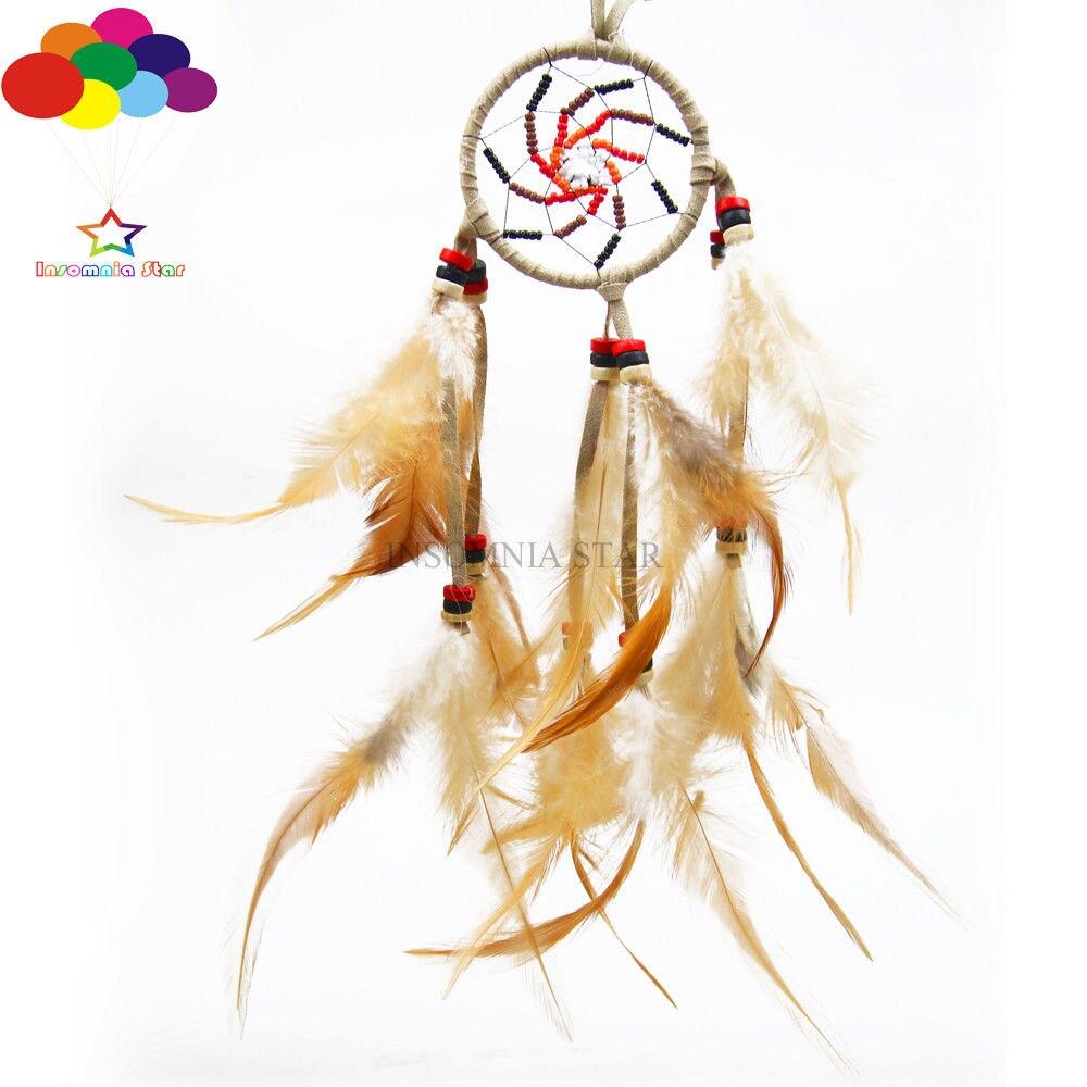 Verantwoordelijk Boho Stijl Diy Dream Catcher Circulaire Kip Veren Muur Opknoping Decoratie