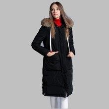 Winter Women Coat 2017 Fashion Big Raccoon Fur Collar Warm Coat Down Jacket Long Thick Warm Down Jacket Large size Coat AB179