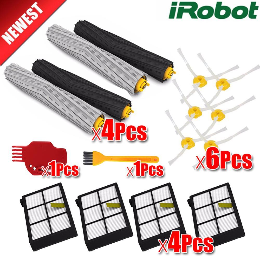 3 conjunto Escova + 1 Pcs Plástico Bump faixa kit para iRobot Roomba 800 900 série 870 880 980 Peças nenhum filtro hepa Aspirador de pó robô
