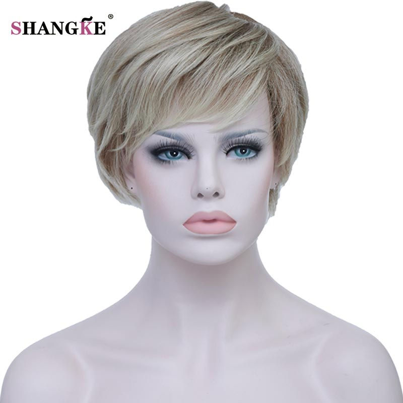 SHANGKE Short Blonde Female Wig Heat Resistant High Temperature Synthetic Wigs For Black White Women Natural