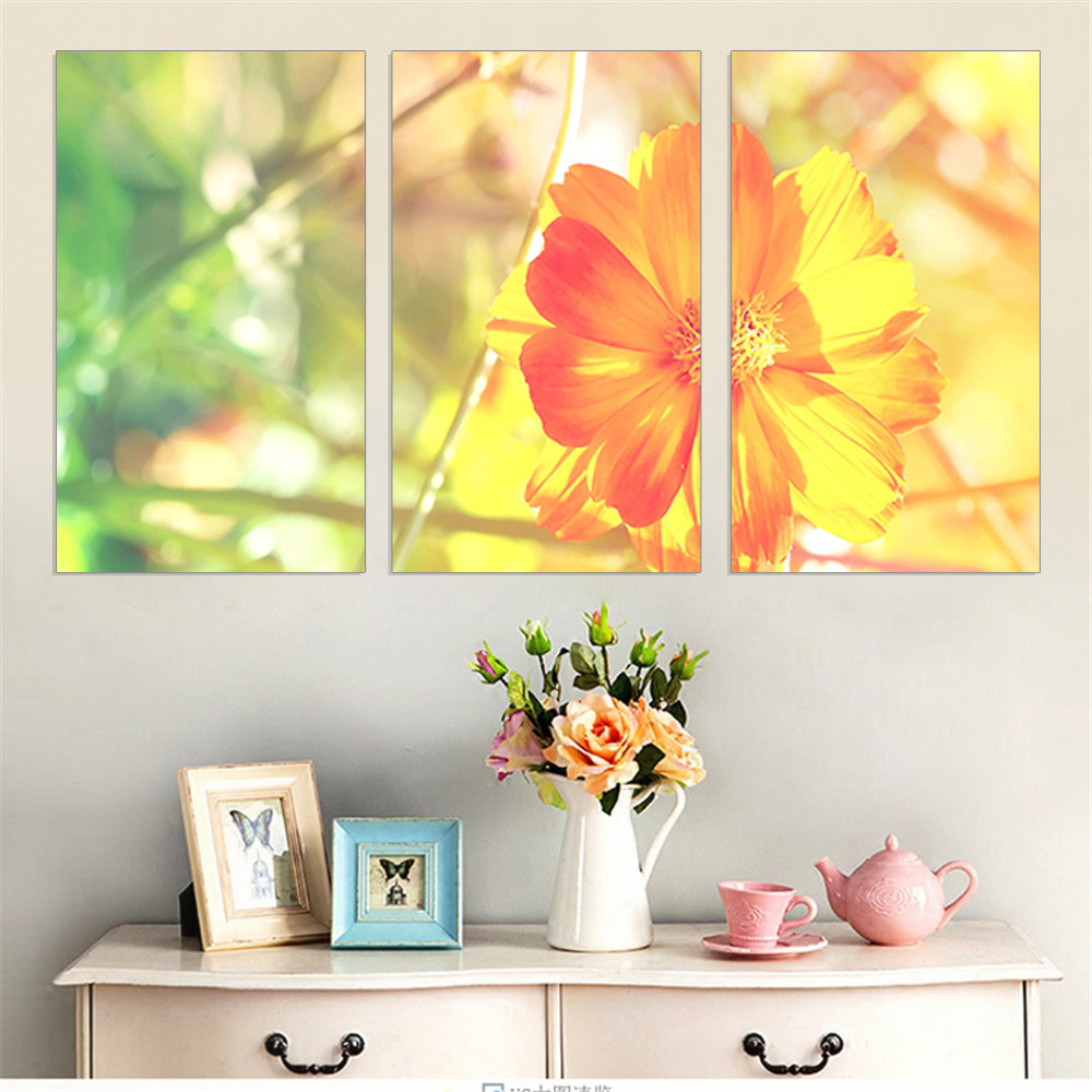 Small Yellow Flower Painting on Canvas Oil Painting Warm Landscape ...