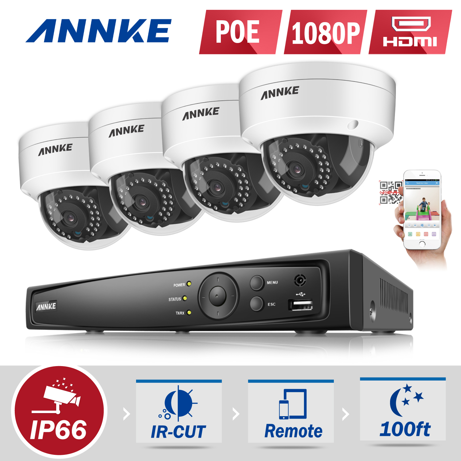 ANNKE 8CH HD 2MP 1080P NVR PoE IP Network ROI Outdoor Security Camera System