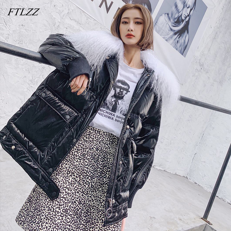 FTLZZ Women Down Jacket Winter 2019 White Duck Down Coats Sliver Parka Real Wool Collar Jackets Female Glossy Waterproof Jacket
