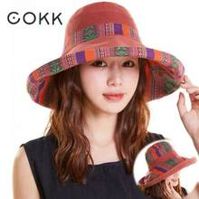 COKK Summer Hats For Women Large Wide Brim Cloth Sun Hat Fisherman Bucket Hat Female Foldable Sunshade Boho With Windproof Rope(China)
