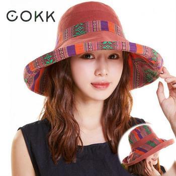 332f85c40 COKK sombreros de verano para mujeres gran paño de ala ancha sombrero de  sol pescador cubo sombrero femenino plegable sombrilla Boho con viento  cuerda