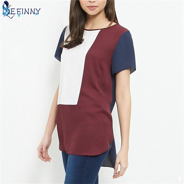 EFINNY Summer Women Blouses shirts Korean Loose Casual Long Blusas Feminina Patchwork Chiffon Striped Blouse Shirt Top Plus Size