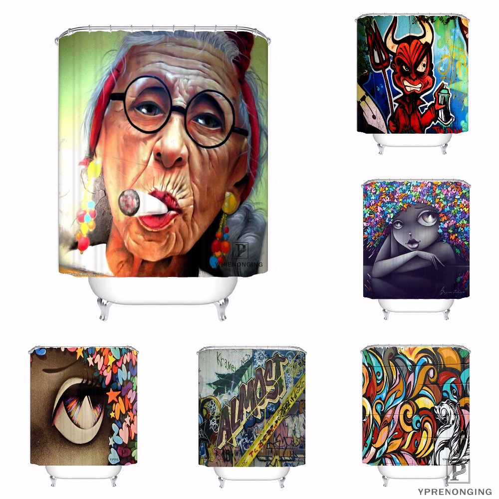 Custom Graffiti Art Waterproof Shower Curtain Home Bath Bathroom s Hooks Polyester Fabric Multi Sizes#180421-Sina-04