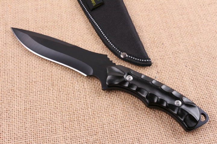 Buy New Brand Outdoor Hunting Fixed Knife 5CR15MOV Blade Anodize Aluminum Handle Survival Knives Utility Camp Straight Knives cheap