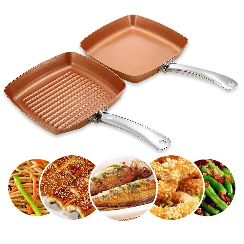 2pcs Non Stick Copper Frying Pans Square Griddles Skillets