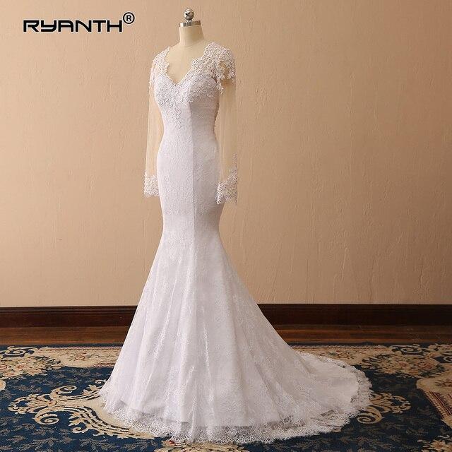 764b00cb8ca Vestido de noiva 2019 Trouwjurk New Arrival Sheer Illusion Long Sleeves Lace  Mermaid Wedding Dress Cheap Robe de Mariee