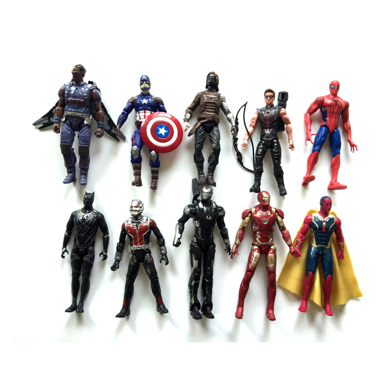 10pcs Sett The Captain America Civil War Iron Manspidermanhawkeyeantman Action Firgure Toy Doll