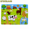 UTOYSLAND 24 Pieces Wooden Barnyard Animal Jigsaw Puzzle for Kids