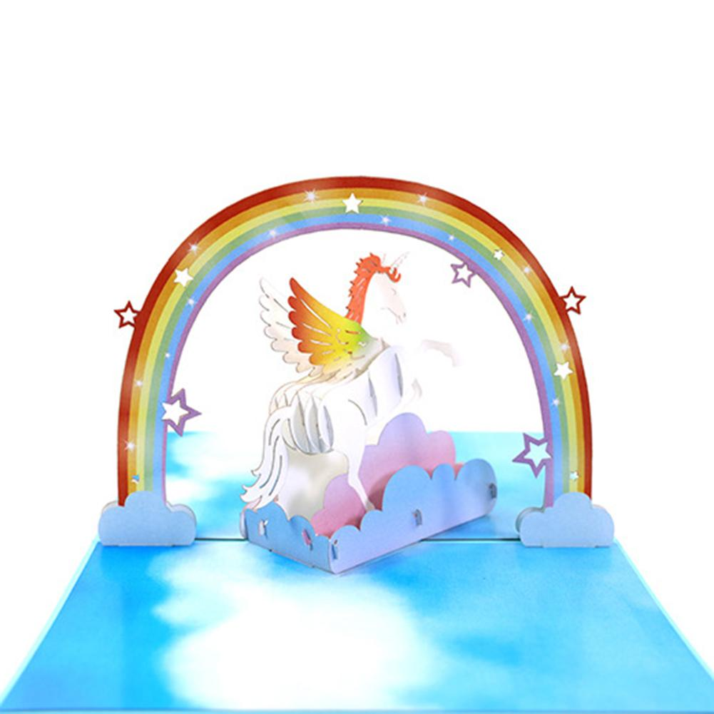 2018 3D Unicorn Pop Up Greeting Cards Invitation Laser Cut Post Card ...
