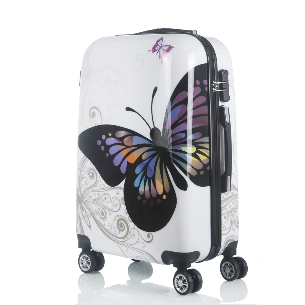 20 24 INCH butterfly pull rod box luggage ABS+PC suitcase chassis universal wheel