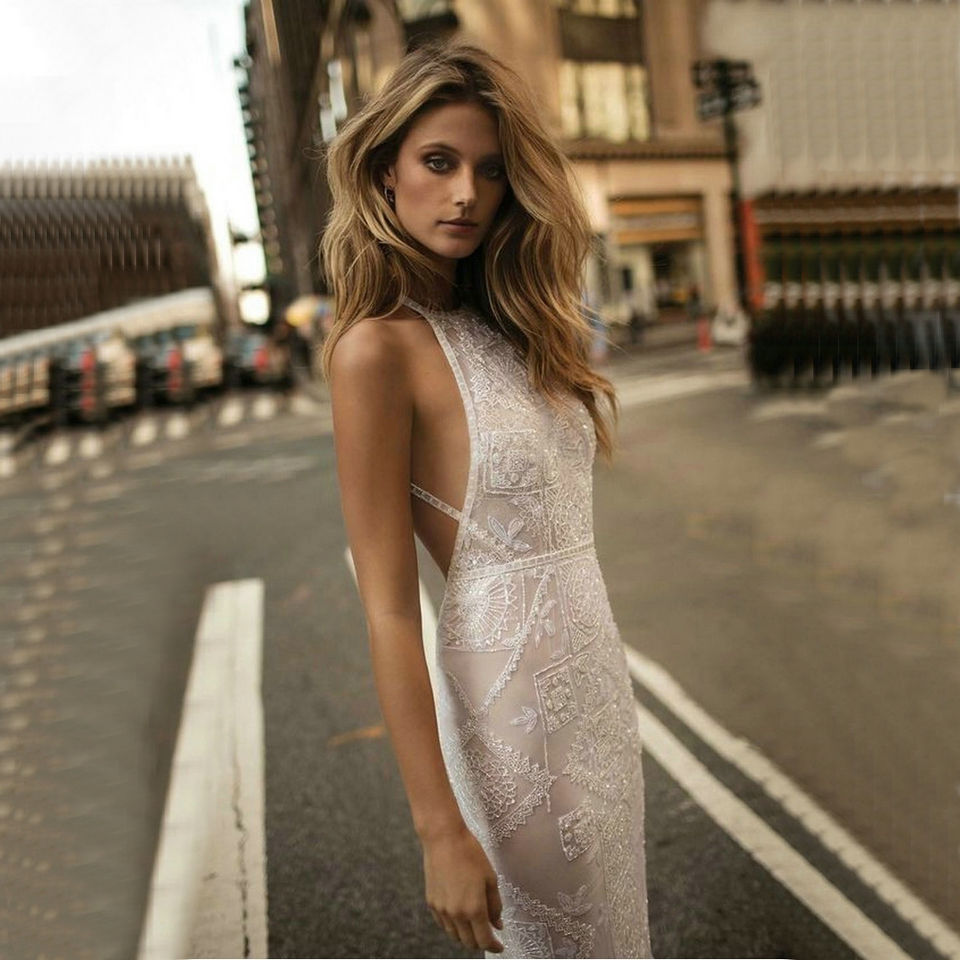 Ameision Sexy Lace Mermaid Long Evening Dresses 2019 Evening Gown Women Party Sleeveless Backless Floor Length bodycon Dress in Evening Dresses from Weddings Events