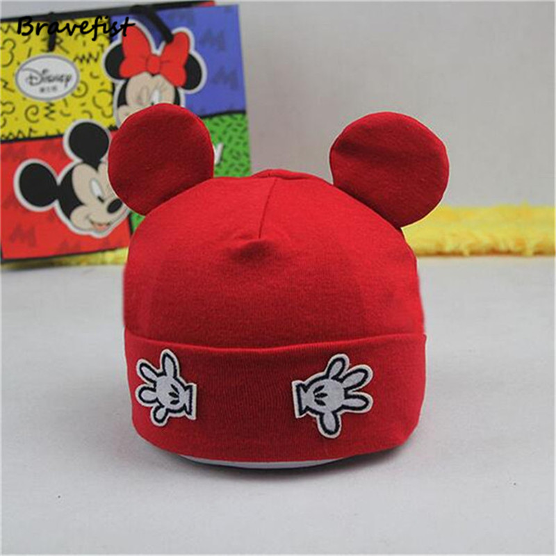 c1c5d4fdc US $3.29 23% OFF|New Mickey Newborn Caps 100% Cotton Autumn Winter Baby  Hats From 6M 3T Black White Red Child Warm Cap Toddler Beanies Hat Bone-in  ...