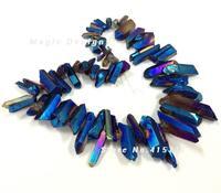 C150630183 blue mystic titanium ab quarzo punto di cristallo bead forma tusk roccia perline di cristallo 16mm a 40mm