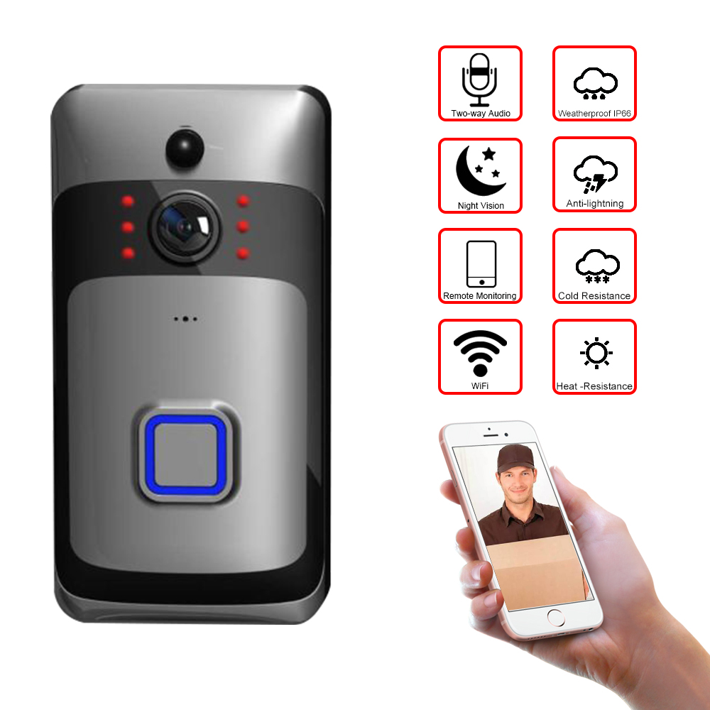 Wireless Video Doorbell 720P HD Smart WiFi Security Camera with PIR Motion Detection Two Way Audio Support TF Card Wireless Video Doorbell 720P HD Smart WiFi Security Camera with PIR Motion Detection Two Way Audio Support TF Card