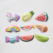 Resale 6pcs Cute Girls Hair Clips Lovely Unicorn Hairpins Kid Watermelon Simple Fruit Hairpin Animals BB