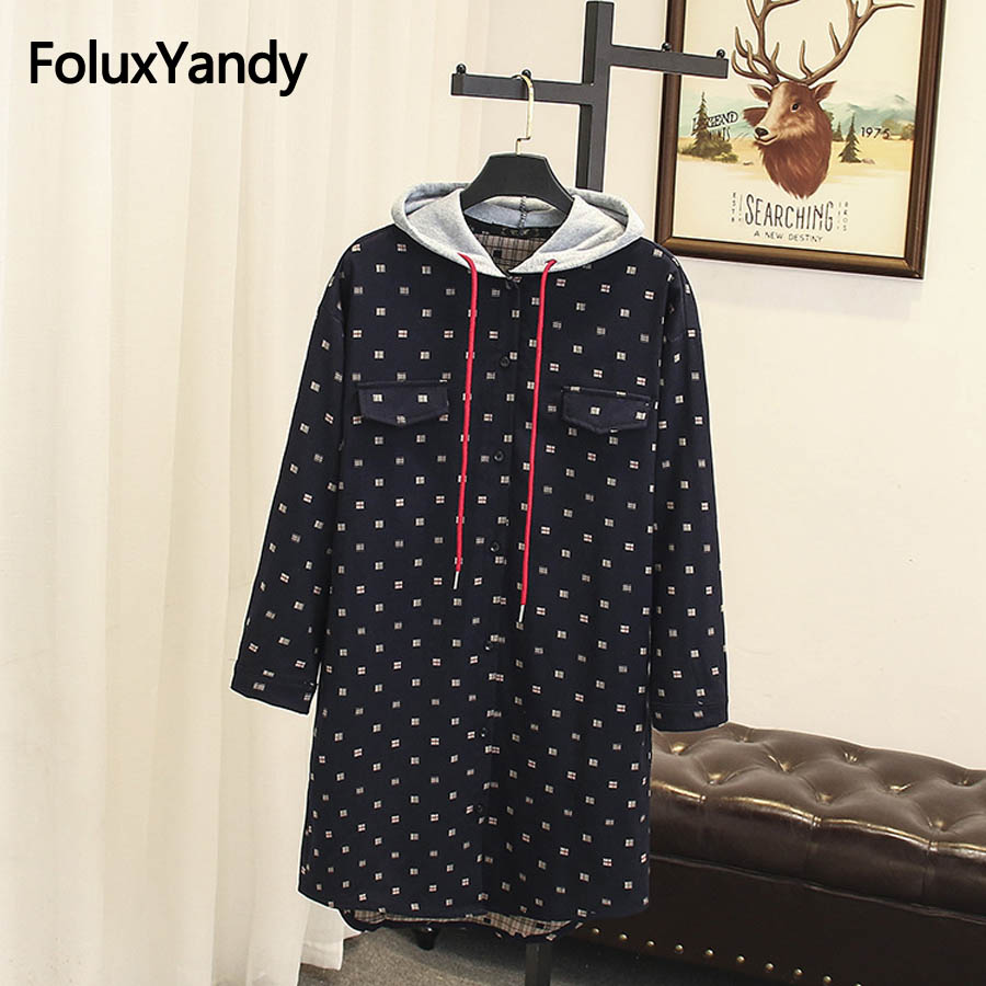 Print Trench Plus Size Women 2018 Autumn Coats Long Sleeve Casual Hooded Long Trench Coat Blue Black Outerwear SWM1039