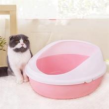 Cat litter pot anti-splashing plastic toilet extra large semi-closed sand pot small cat pot pull cat supplies full set