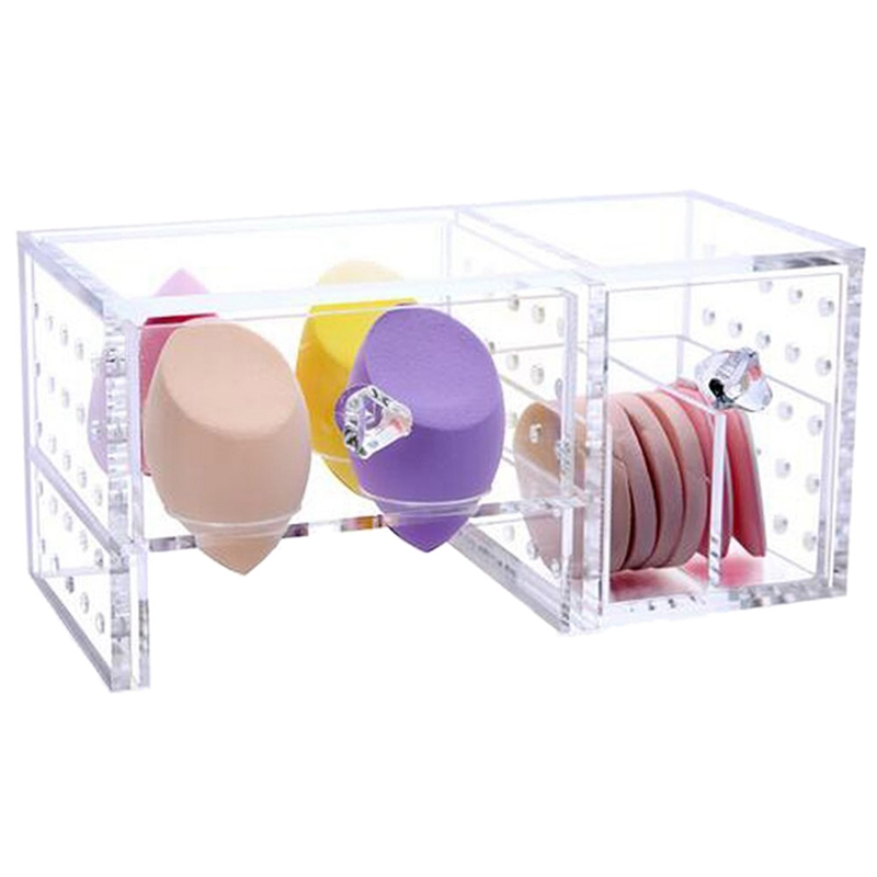 Clear Acrylic Organizer Sponge Puff Storage Great Ventilation Dustproof(China)