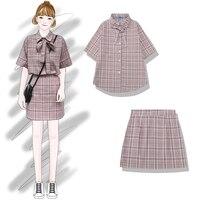 2019 Summer New Arrival Women Fashion Korea Style Plaid Shirt High Waist Skirt Office Lady Slim Fit Student Sets Ulzzang Chic