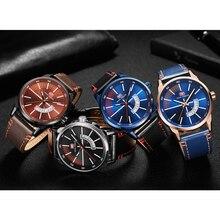 Quartz Waterproof Black Leather Strap Watches For Men