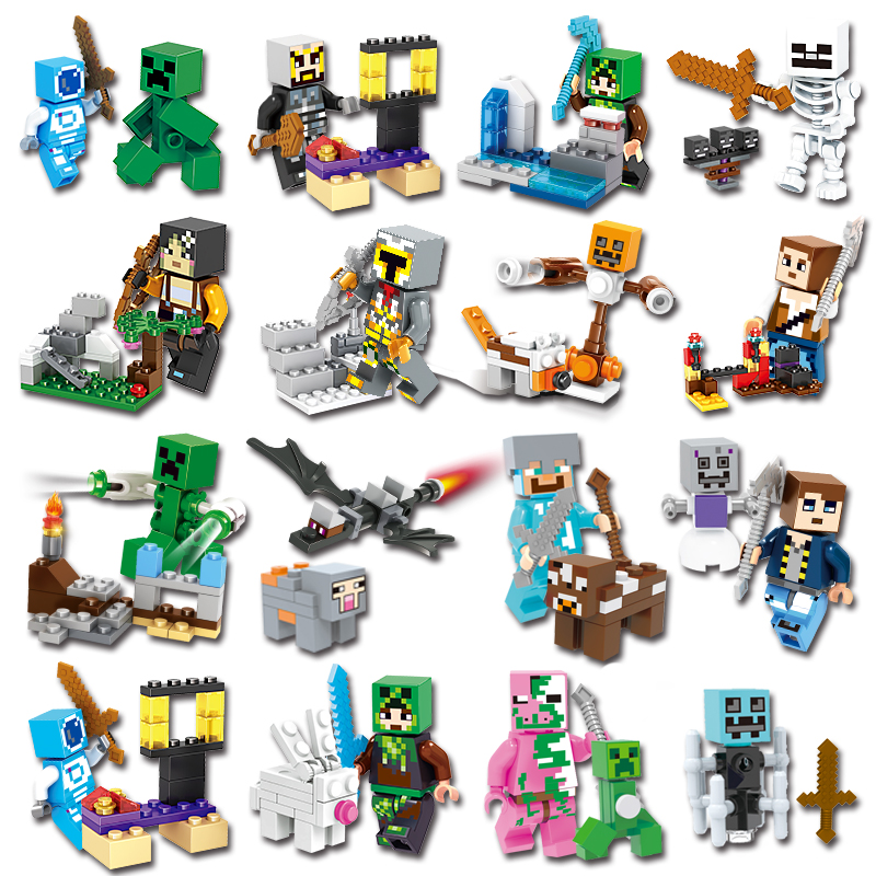 18Pcs Minecrafted Compatible LegoINGlys Set Figures Action Building Blocks Jungle Mundos Steve Alex Zombie Weapon with Toys gift