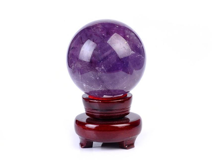 Natural purple stone Sphere Healing Ball Display 50mm AAAA