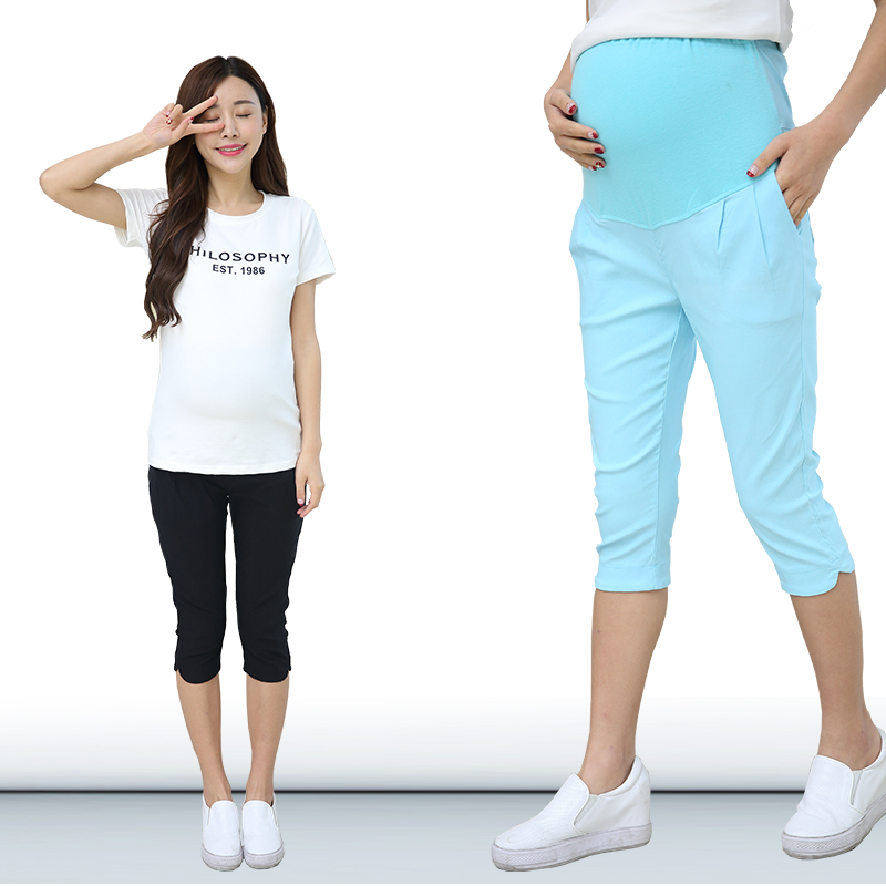 2f9678fd56ee61 Yuanjiaxin Summer Fashion Maternity Pants High waisted Pregnancy Trousers  for pregnant women Capris cropped pant-in Pants & Capris from Mother & Kids  on ...