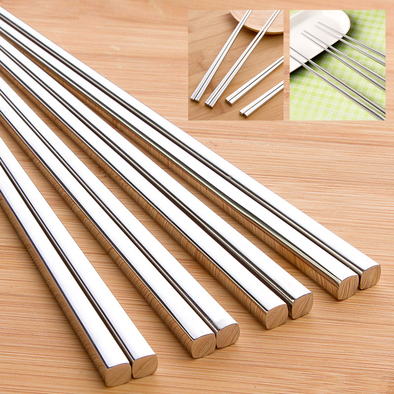 vanzlife food grade top 304 stainless steel chinese chopsticks for sushi household square children's chop stick holder one pair image