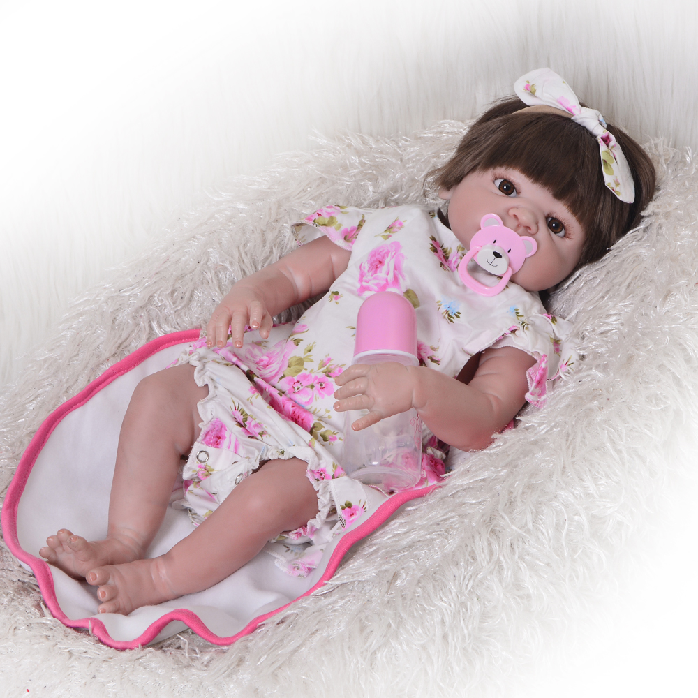 Lifelike 23'' Reborn Baby Doll Full Silicone Vinyl Realistic Newborn Girl Babies Wear Flora Dress Baby Toys For Kids Xmas Gifts lovely real like baby dolls reborn 23 soft silicone vinyl reborn baby doll toys realistic lifelike girl wear cute pink dress