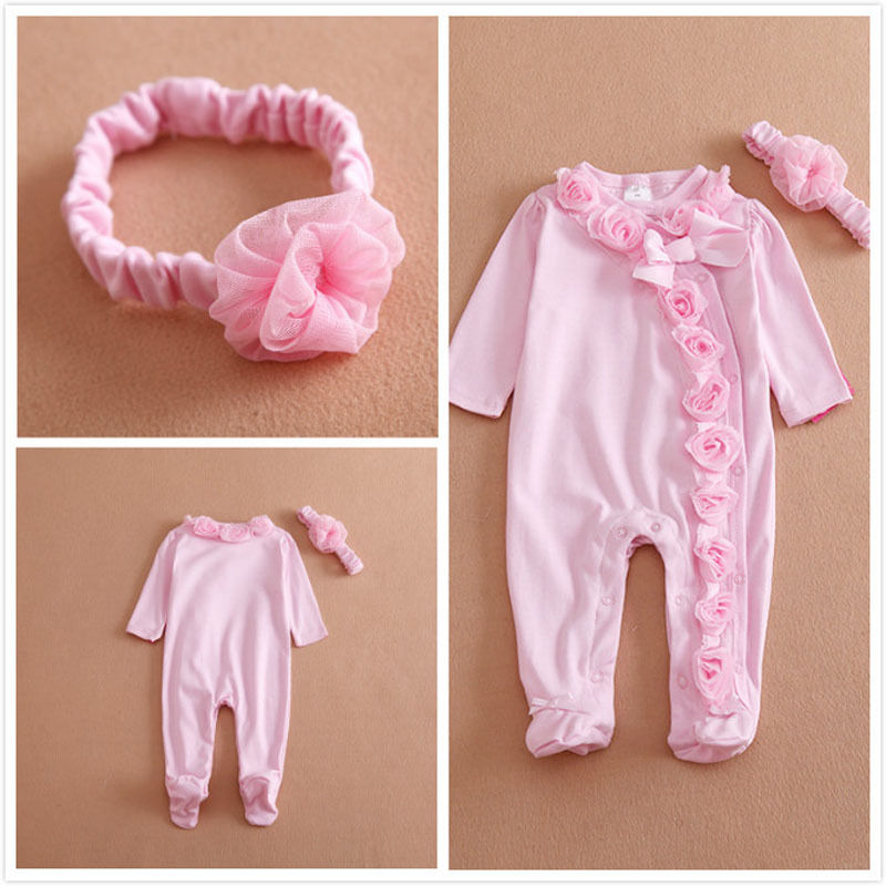 Princess Style Newborn Baby Girl Clothes Bow/Flowers Romper Clothing Set Jumpsuit & Headband 2 PC Cute Infant Cirls Rompers puseky 2017 infant romper baby boys girls jumpsuit newborn bebe clothing hooded toddler baby clothes cute panda romper costumes