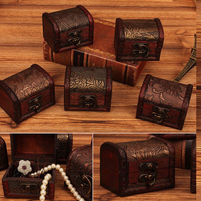 US $3 6 20% OFF|European Retro Wooden Box For Jewelry Gifts Letter Cards  Crafts Storage Case Organizer Decorative With Lock Keys Lid-in Storage  Boxes