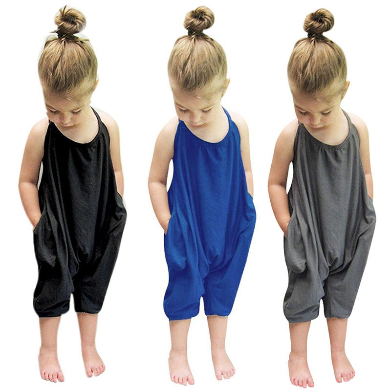 2018 Fashion Kids Baby Girls Strap Cotton   Romper   Jumpsuit Harem Trousers Summer Toddler Girls Clothes