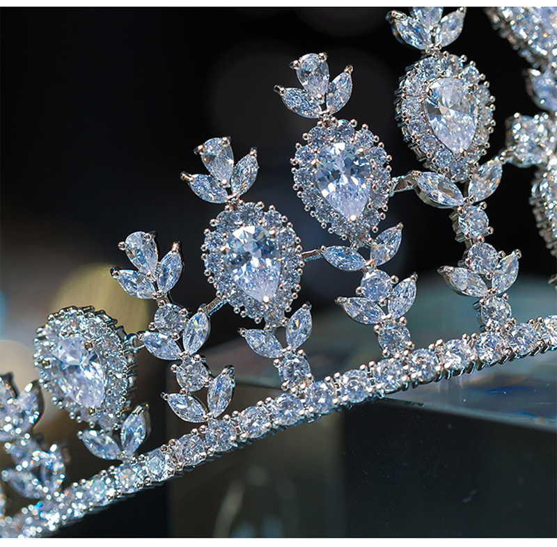 HIMSTORY Elegant Sparkling Zircon Brides Tiaras Crown Bridal Headpieces Crowns Headbands Wedding Dress Hair Accessories in Hair Jewelry from Jewelry Accessories