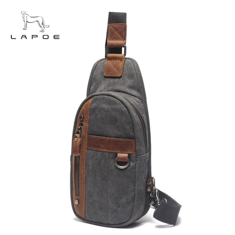 LAPOE Canvas Leather Men New Leisure Casual Men Chest Bag Pack Crossbody Bag Man Sling bag Large Capacity Messenger bag male augur 2018 men chest bag pack functional canvas messenger bags small chest sling bag for male travel vintage crossbody bag