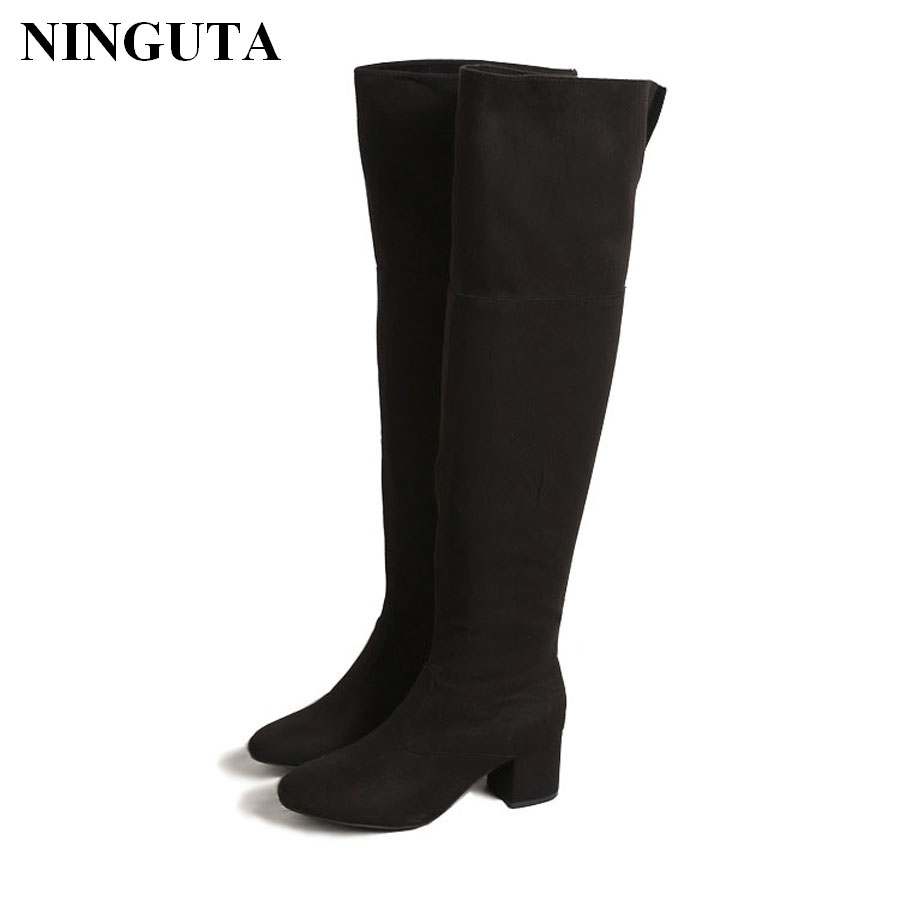 Sexy black thigh high boots women high heel shoes woman