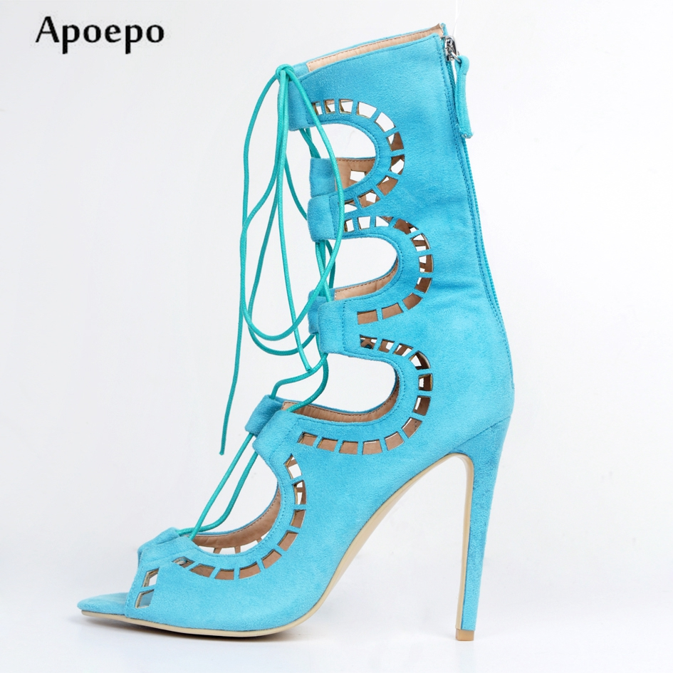 Apoepo Sky Blue Suede Cutouts high Heel Boots 2018 Summer Peep Toe Lace-up Gladiator Sandal Boots Woman Thin Heels Ankle Boots givenchy губная помада le rouge 106 nude guipure 3 4 г