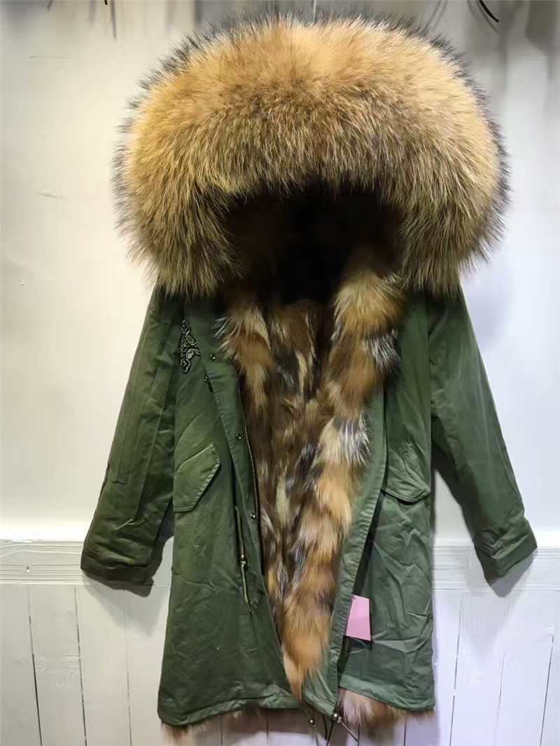 Beading natural color fox fur inside hooded coats real fur long style army green font b