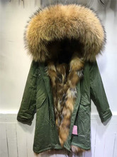 Beading natural color fox fur inside hooded coats real fur long style army green jacket Mr women winter warm parka