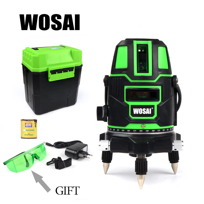 WOSAI Green Laser Level 5 Lines 6 Points 360 Degrees Rotary Outdoor 635nm Corss Line Lazer Level Points Level Tilt Function laser cast line instrument marking device 5 lines the laser level