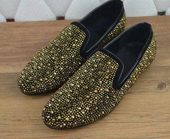 Hot Selling Black Gold Crystal Slip-on Men Dress Shoes High Quality Flat Vintage Rivets Men Shoes Size 36-46 Drop Ship