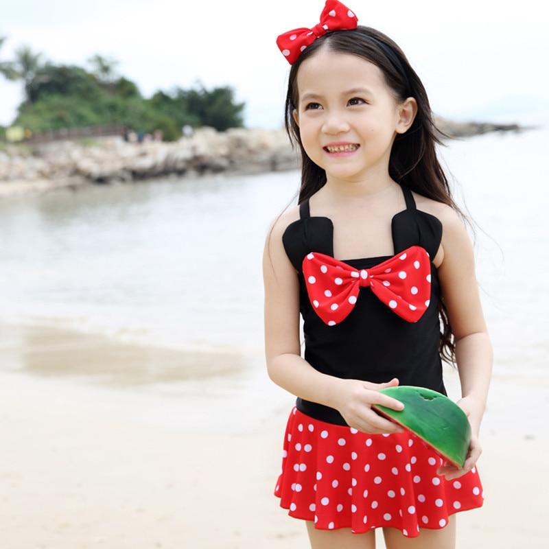 Mickey Minnie Mouse Swimwear Costume Children Kids Girls One Piece Swimsuit Bathing Swimming -4444